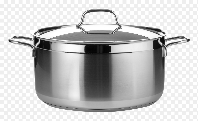 Stainless steel pot transparent PNG