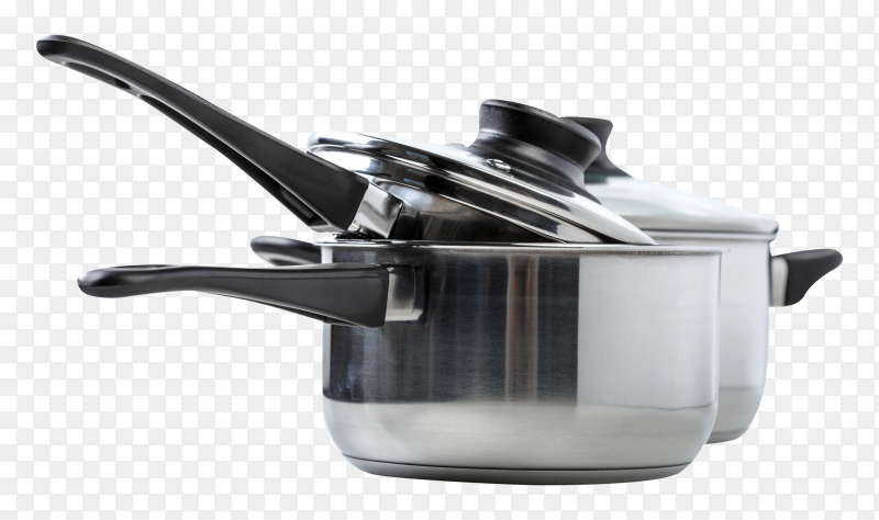 Stainless steel pots and pans transparent PNG