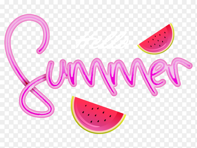 Stylish text of hello summer transparent background PNG