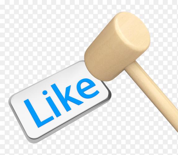Thumb up like social media 3d symbol image PNG