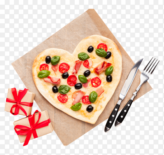 Top view heart shaped pizza with gifts PNG
