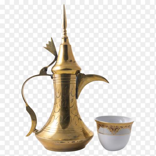 Traditional arabic coffee mug and coffee cup PNG