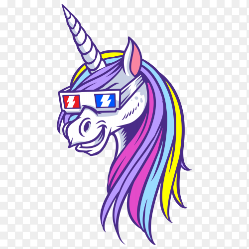 Unicorn 3D shades Vector PNG