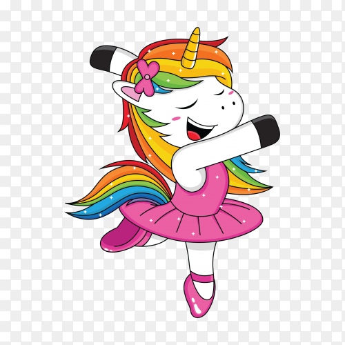 Unicorn ballet cartoon transparent PNG