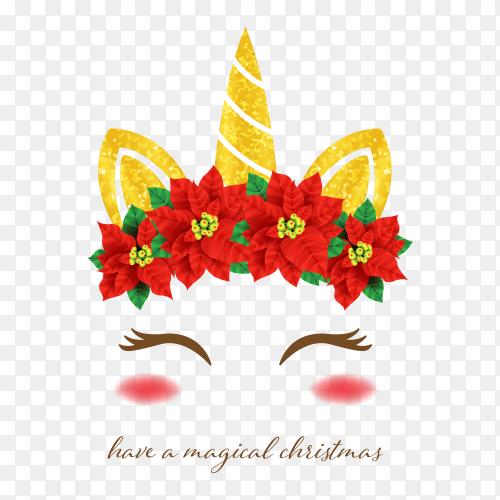 Unicorn christmas style PNG