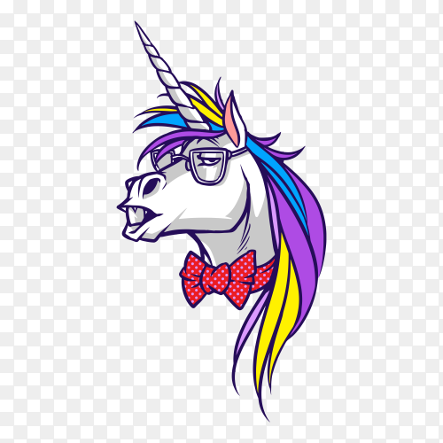 Unicorn nerd Vector PNG