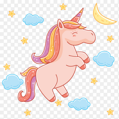 Unicorn with stars transparent PNG