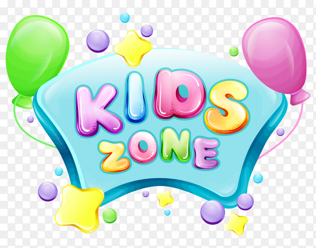 Vector cartoon kids zone poster template PNG