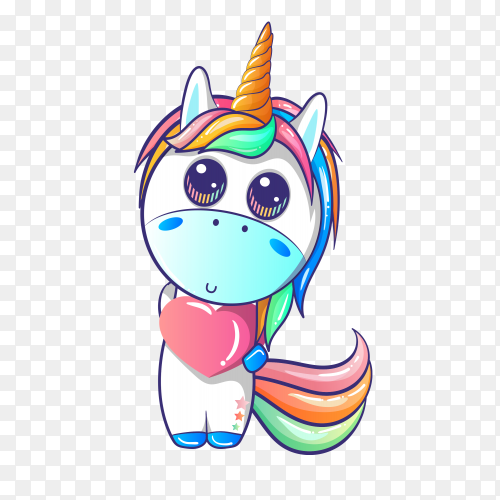 Vector unicorn holding heart PNG