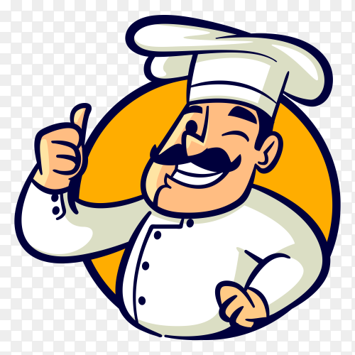 Vintage chef character logo royalty free PNG