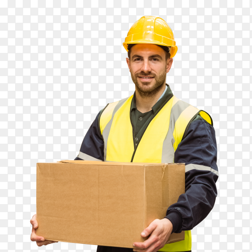 Warehouse worker carrying Cardboard box image PNG