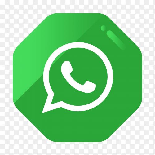 WhatsApp logo in gradient hexagonal PNG