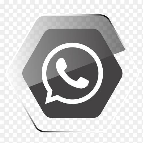 WhatsApp logo in hexagonal gray PNG