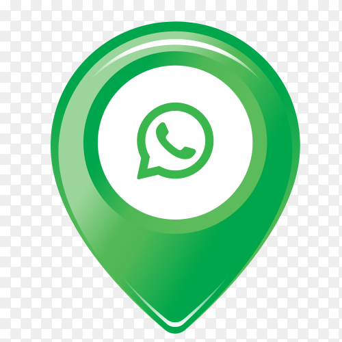 WhatsApp logo in the location icon PNG