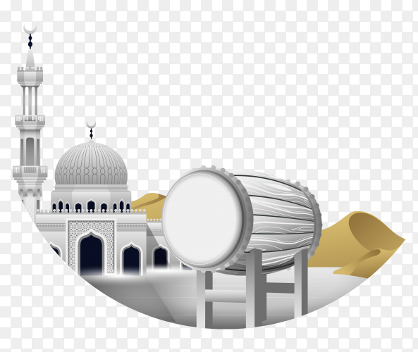 White bedug mosque ramadan kareem clipart PNG