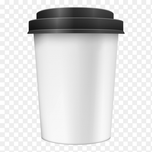 White cup with black lid vector PNG