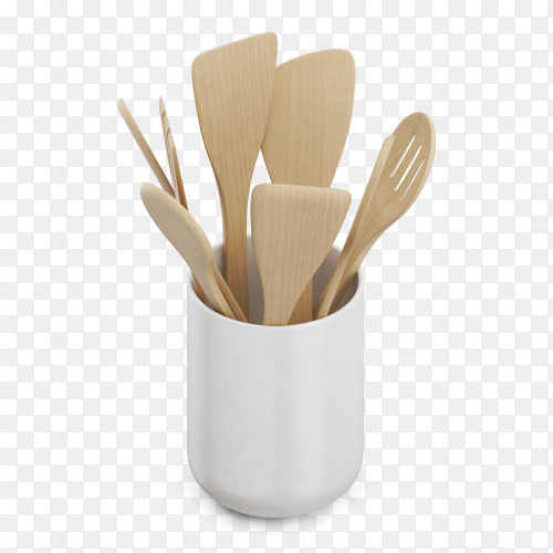 Wooden kitchen spoons in cup PNG