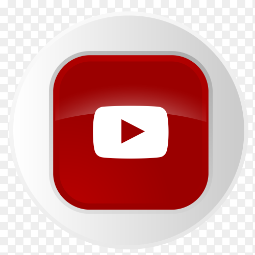 YouTube logo button in gray circle PNG
