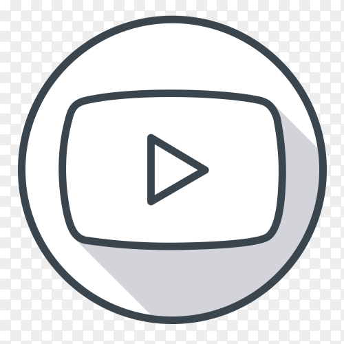 YouTube logo gray color PNG