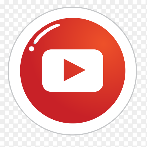 YouTube logo in a circle social media icon PNG