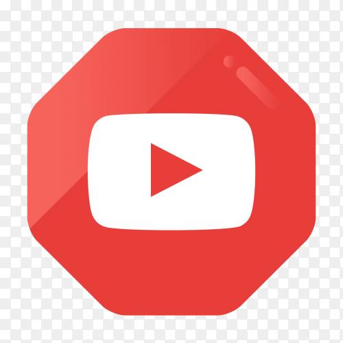 YouTube logo in gradient hexagonal PNG