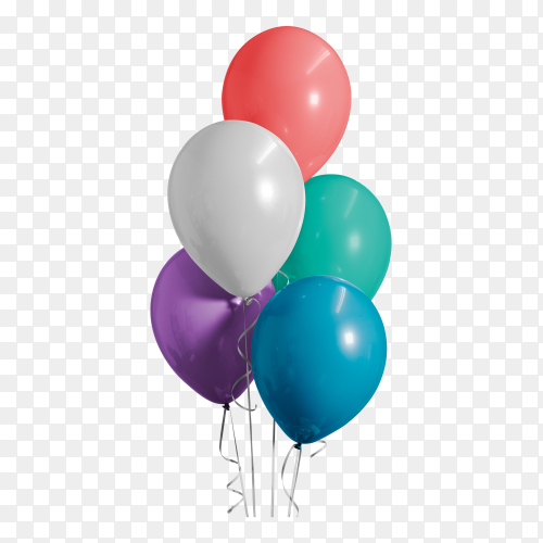 Colorful balloons birthday party PNG