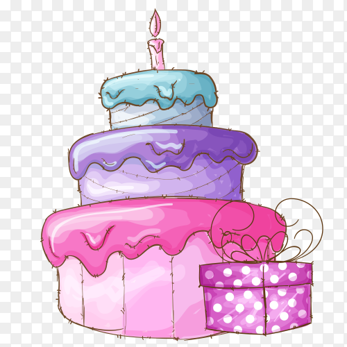 Cute cake birthday party PNG