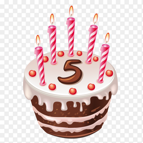 Cute cartoon 5 year birthday with chocolate cake PNG