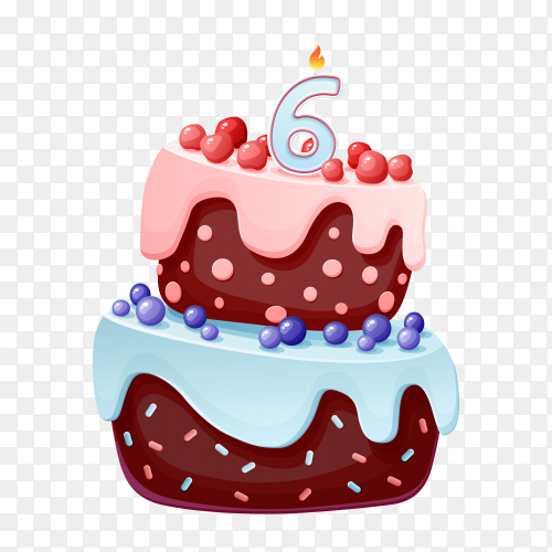 Cute cartoon 6 year birthday with chocolate cake PNG