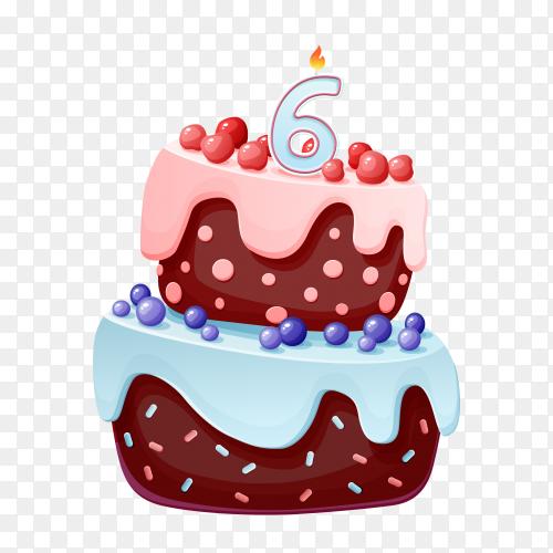 Cute cartoon 6 year birthday with chocolate cake PNG