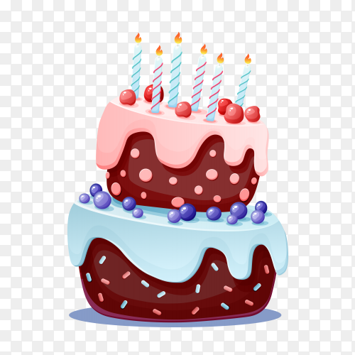 Cartoon Happy Birthday Cake With 3 Candle Png Similar Png