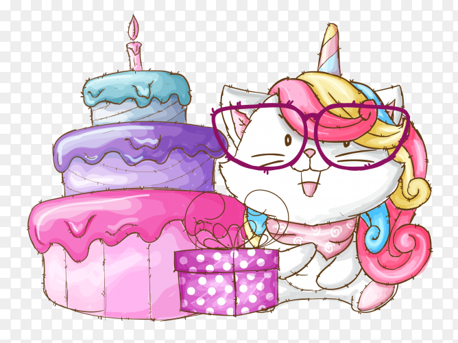 Cute caticorn birthday party illustration PNG