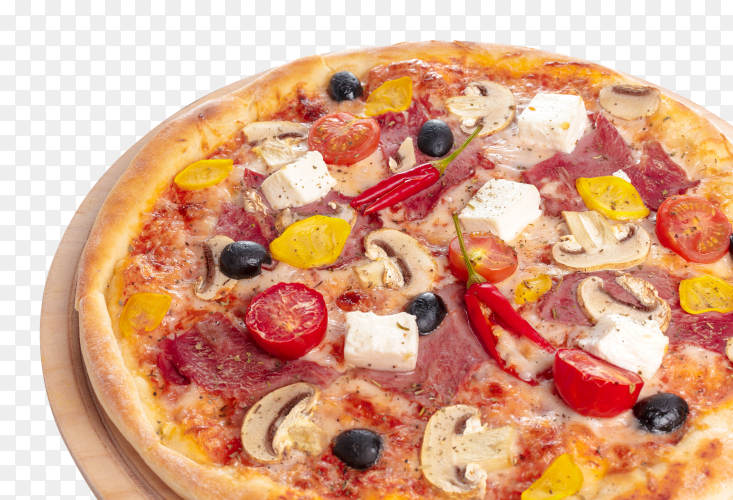 Delicious pizza served wooden plate PNG