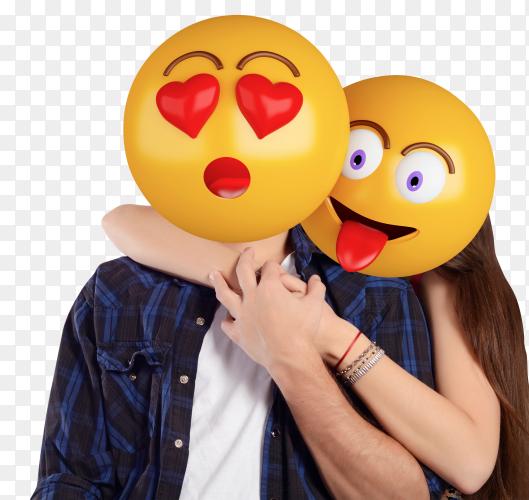 Emoji head man woman beautiful couple PNG