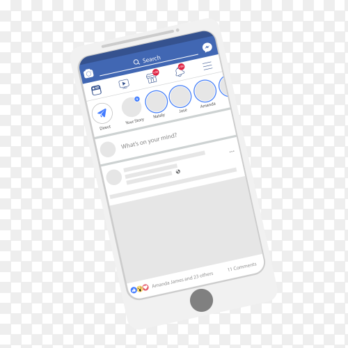 Flat mobile with facebook notifications PNG