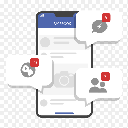 Flat mobile with facebook notifications socila media PNG