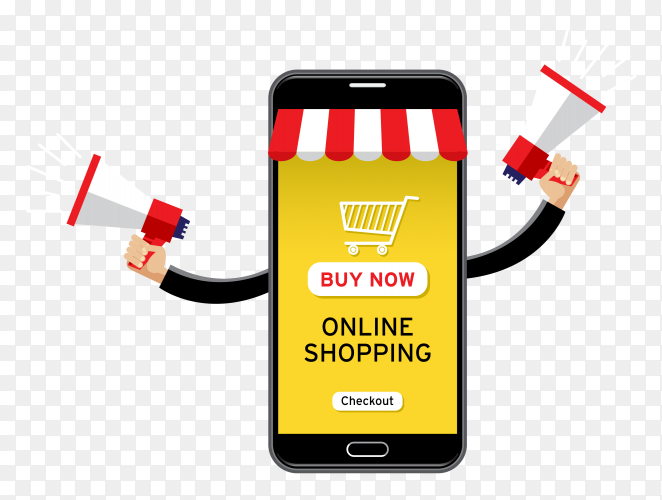 Giant cellphone selling goods PNG