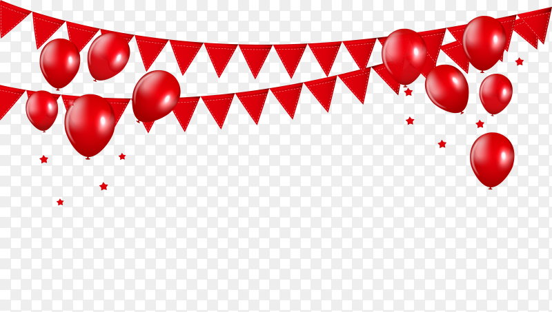 Glossy Red Balloons Vector Illustration PNG