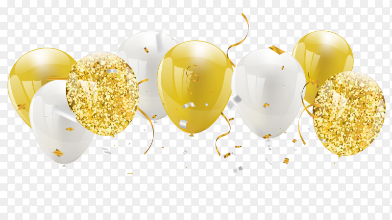 Gold & white balloons PNG
