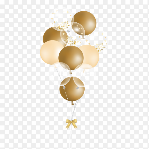 Gold balloons transparent PNG