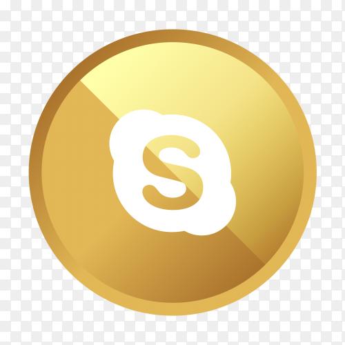 Golden Skype logo social media icon PNG