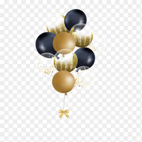Golden and black balloons transparent PNG