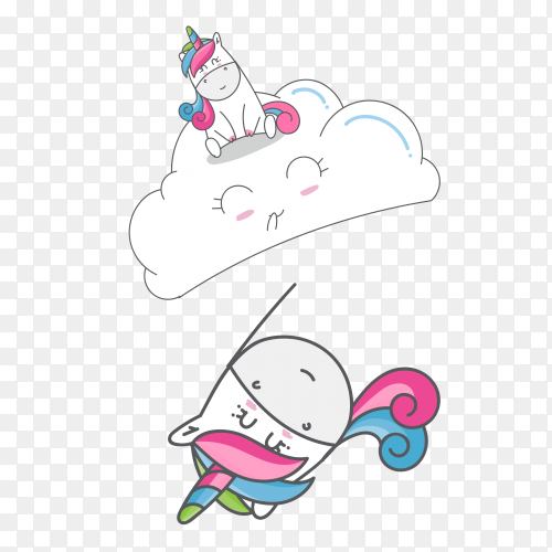Hand drawn cute unicorn with pattern set vector PNG