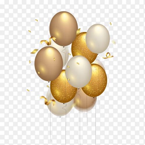 Happy birthday celebration – gold balloon PNG
