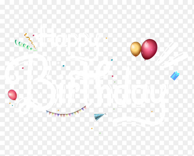 Happy birthday design invitation card PNG