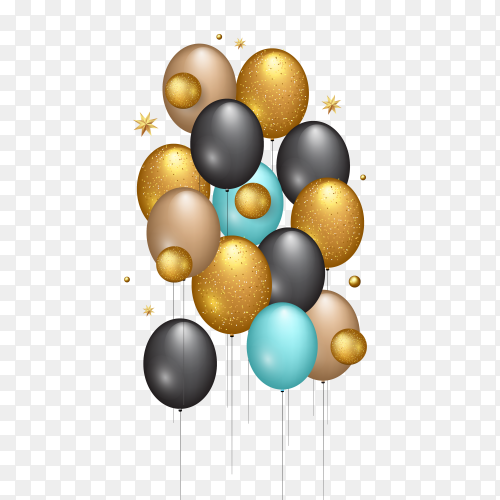 Happy birthday vector illustration – golden balloons PNG
