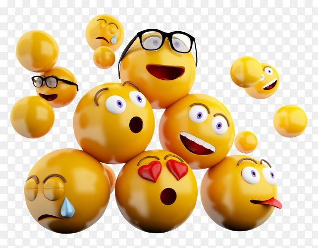 Iconos emojis 3D expresiones faciales PNG