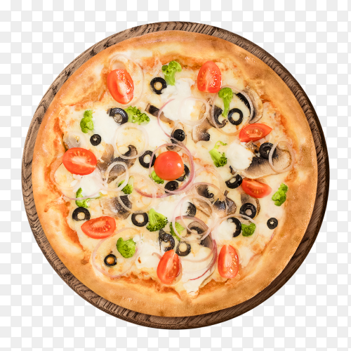 Italian pizza with mushrooms cherry tomatoes PNG