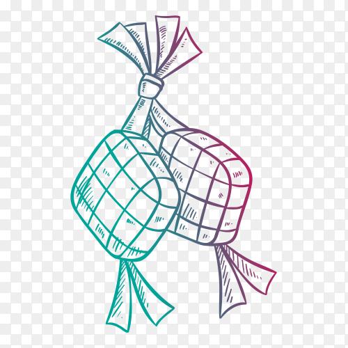 ketupat eid mubarak idul fitri hand drawn vector PNG