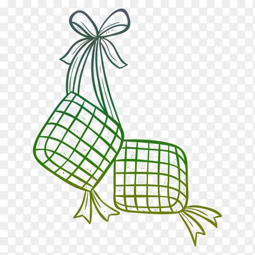 ketupat illustration doodle style vector PNG
